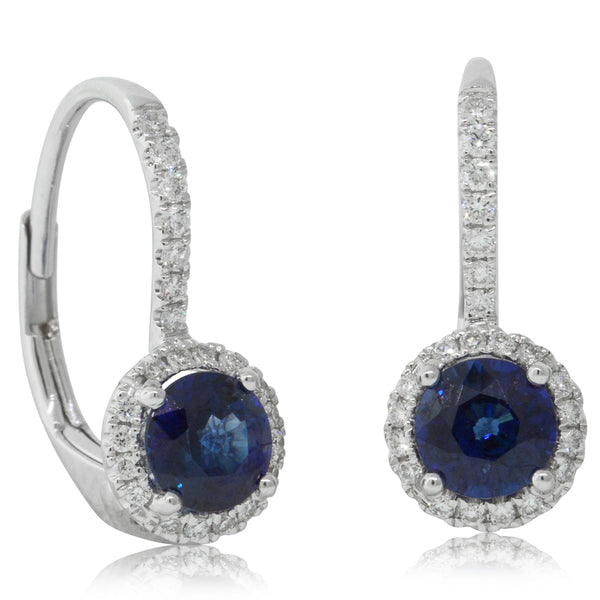18ct White Gold 1.14ct Sapphire & Diamond Halo Earrings - Walker & Hall
