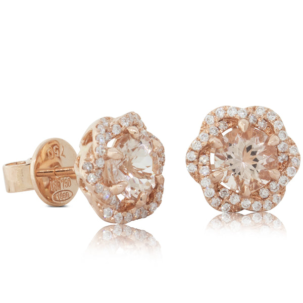18ct Rose Gold 1.46ct Morganite & Diamond Halo Earrings - Walker & Hall