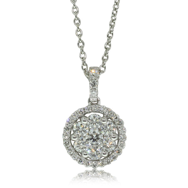 18ct White Gold .56ct Diamond Cluster Pendant - Walker & Hall