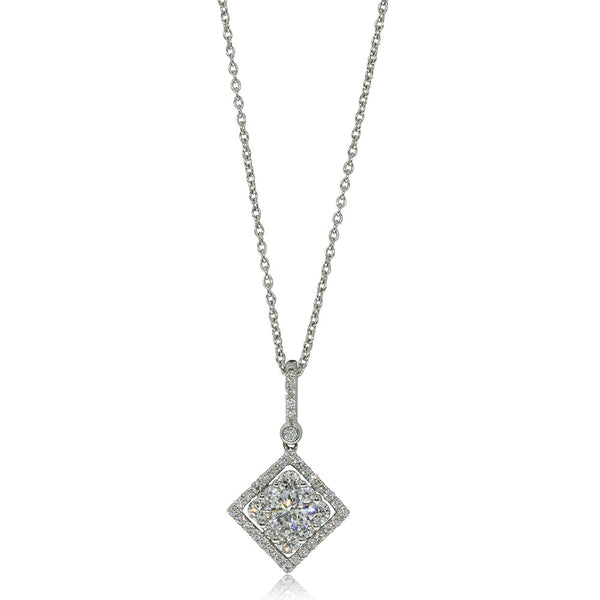 18ct White Gold Diamond Cluster Pendant - Walker & Hall
