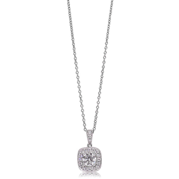 18ct White Gold .52ct Diamond Halo Pendant - Walker & Hall