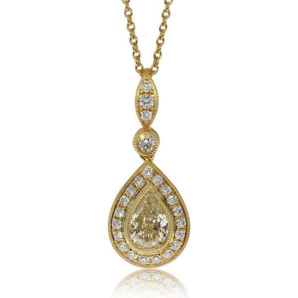 18ct Yellow Gold .74ct Yellow Diamond Halo Pendant - Walker & Hall