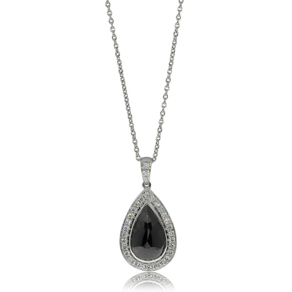 18ct White Gold 1.48ct Black Diamond Pendant - Walker & Hall
