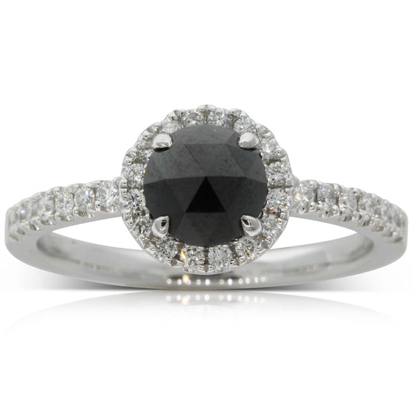 18ct White Gold .83ct Black Diamond Ring - Walker & Hall