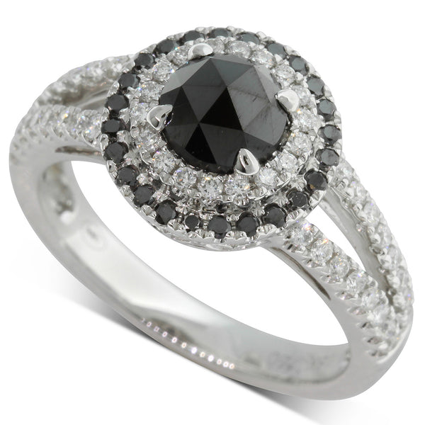 18ct White Gold .99ct Black Diamond Ring - Walker & Hall