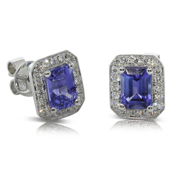 18ct White Gold 2.39ct Tanzanite & Diamond Studs - Walker & Hall