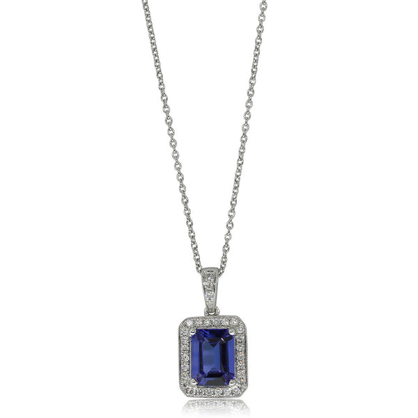 18ct White Gold Tanzanite & Diamond Pendant - Walker & Hall
