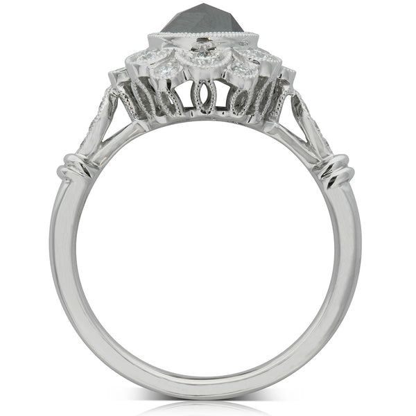 18ct White Gold .89ct Black Diamond Ring - Walker & Hall