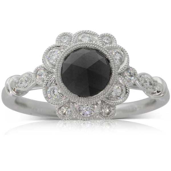 18ct White Gold Black Diamond Ring - Walker & Hall