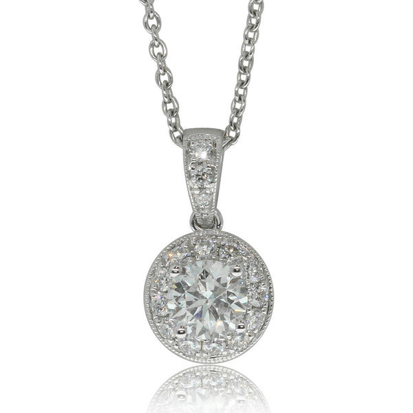 18ct White Gold .70ct Cluster Pendant - Walker & Hall