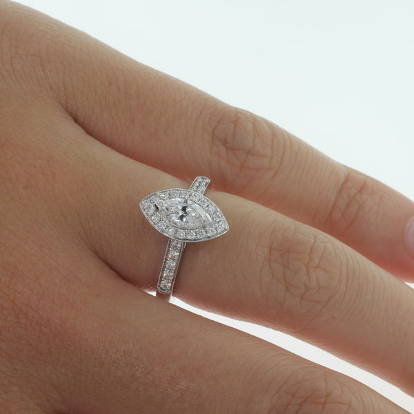 18ct White Gold .52ct Marquise Cut Diamond Halo Ring - Walker & Hall