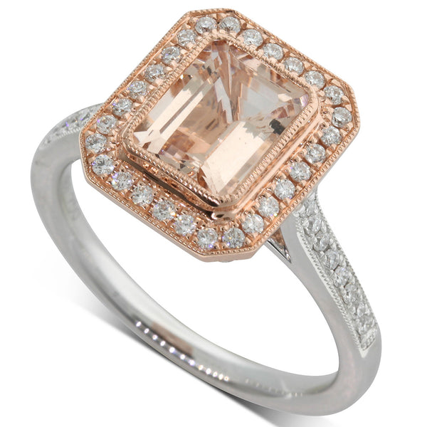 18ct Rose & 18ct White Gold Morganite Dress Ring - Walker & Hall