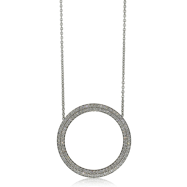 9ct White Gold .66ct Diamond Circle Pendant - Walker & Hall