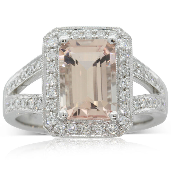 18ct White Gold 2.50ct Morganite & Diamond Ring - Walker & Hall