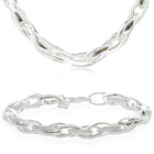 Gift Set - Sterling Silver Oval Twist Link Necklace & Bracelet - Walker & Hall