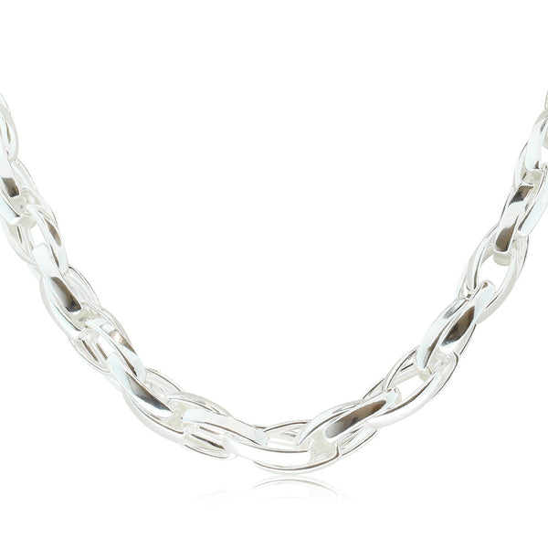 Sterling Silver Oval Twist Link Necklace - Walker & Hall