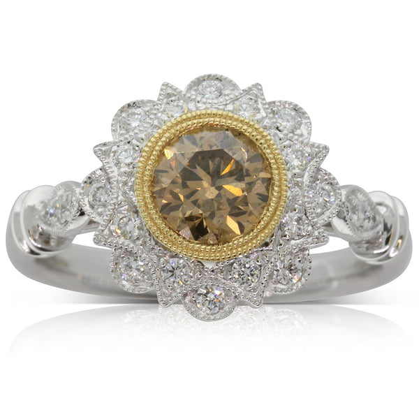 18ct White Gold & 18ct Yellow Gold Mocha Diamond Mayfair Ring - Walker & Hall