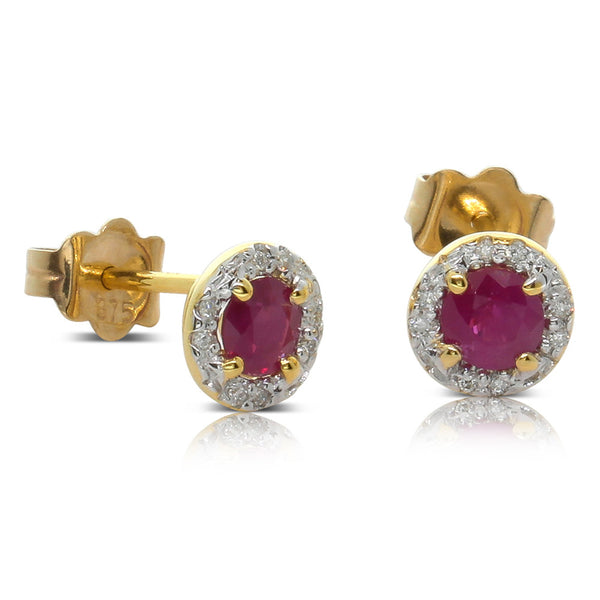 9ct Yellow Gold Ruby & Diamond Studs - Walker & Hall