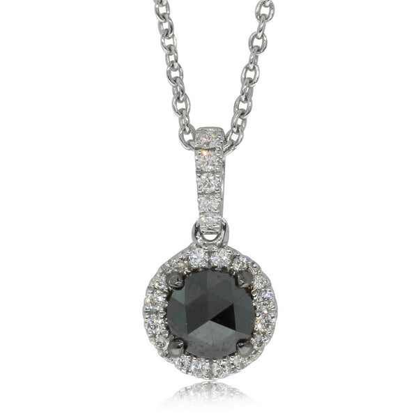 18ct White Gold .49ct Black Diamond Pendant - Walker & Hall