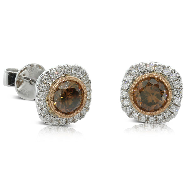 18ct White & 18ct Rose Gold Mocha Diamond Studs - Walker & Hall
