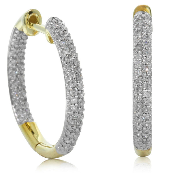 9ct Yellow Gold .34ct Pave Set Diamond Hoops - Walker & Hall