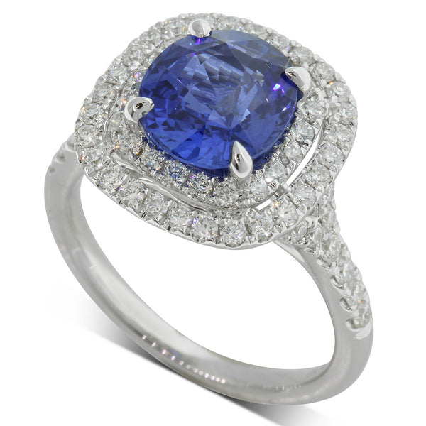 18ct White Gold 3.10ct Sapphire & Diamond Dress Ring - Walker & Hall