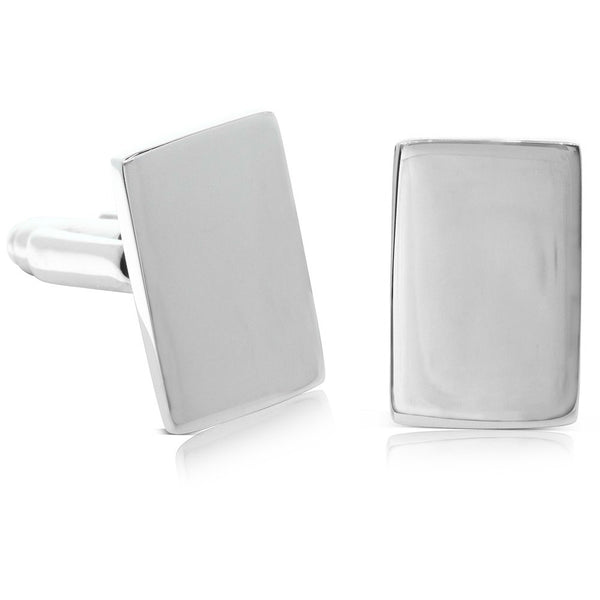 Sterling Silver Rectangular Cufflinks - Walker & Hall