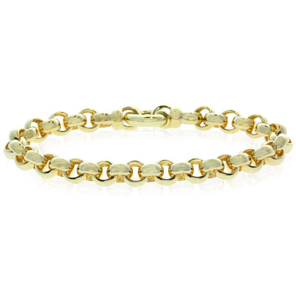 9ct Yellow Gold Belcher Bracelet With Bolt Clasp - Walker & Hall