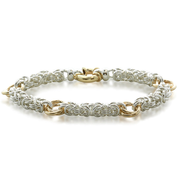 Sterling Silver & 9ct Yellow Gold Byzantine Bracelet - Walker & Hall