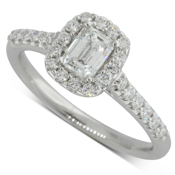 18ct White Gold .52ct Diamond Halo Ring - Walker & Hall