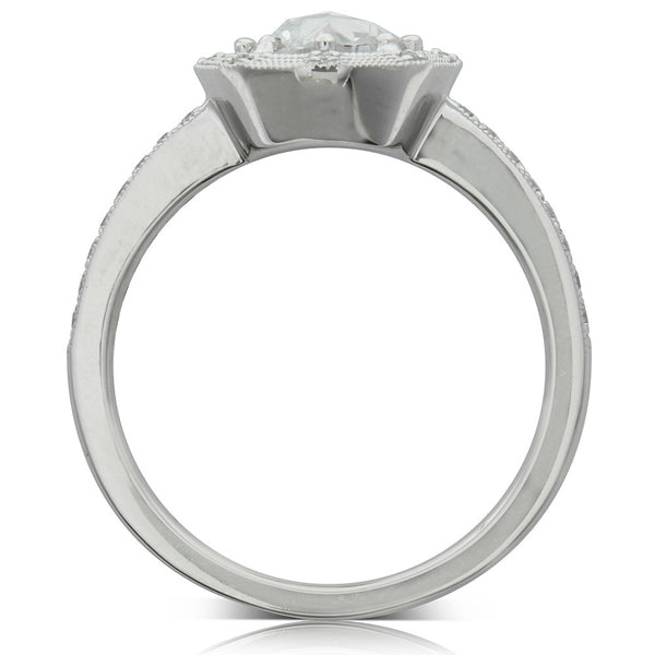 18ct White Gold .74ct Rose Cut Diamond Halo Ring - Walker & Hall