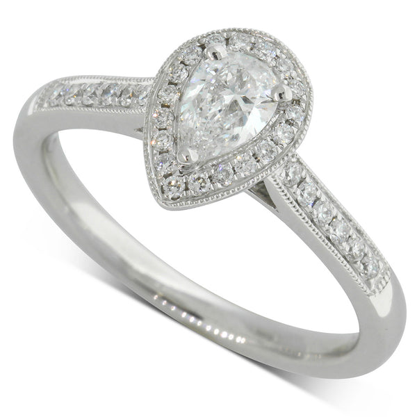 18ct White Gold .35ct Pear Cut Diamond Halo Ring - Walker & Hall