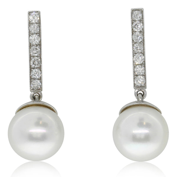 18ct White Gold Diamond & Pearl Drop Earrings - Walker & Hall