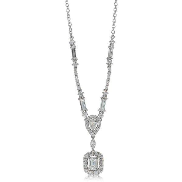 18ct White Gold 1.70ct Diamond Cluster Necklace - Walker & Hall