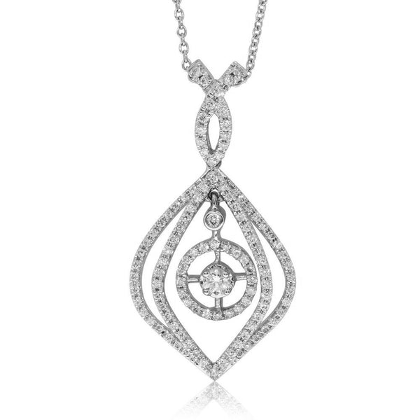 18ct White Gold .60ct Diamond Drop Pendant - Walker & Hall