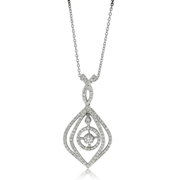 18ct White Gold .60ct Diamond Drop Pendant
