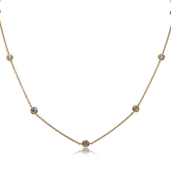 18ct Yellow Gold 1.08ct Diamond Set Necklace - Walker & Hall