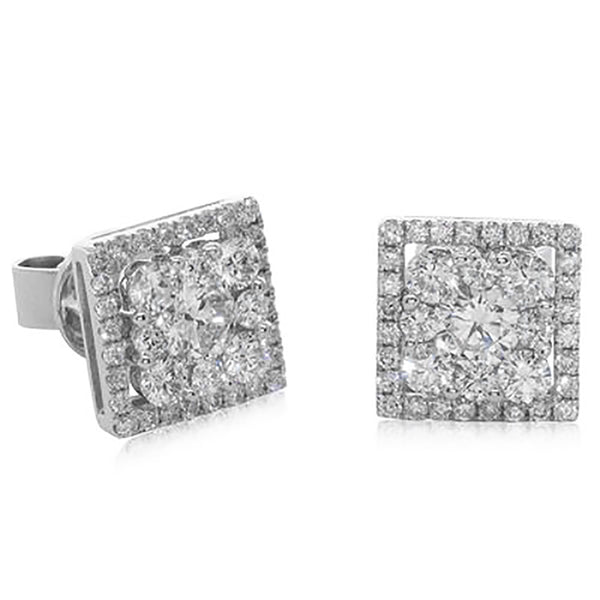 18ct White Gold Diamond Cluster Earrings - Walker & Hall