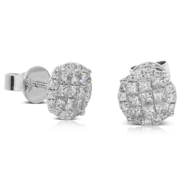 18ct White Gold .88ct Diamond Cluster Earrings - Walker & Hall