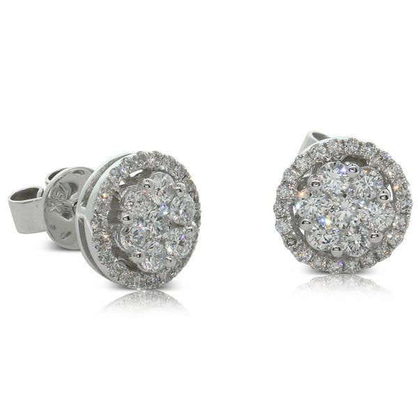 18ct White Gold Diamond Cluster Studs - Walker & Hall