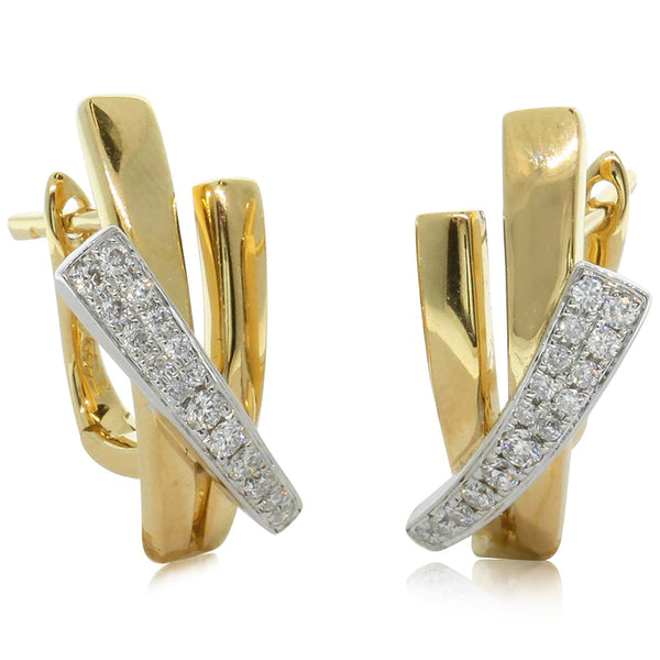 18ct Yellow & 18ct White Gold Diamond Earrings - Walker & Hall