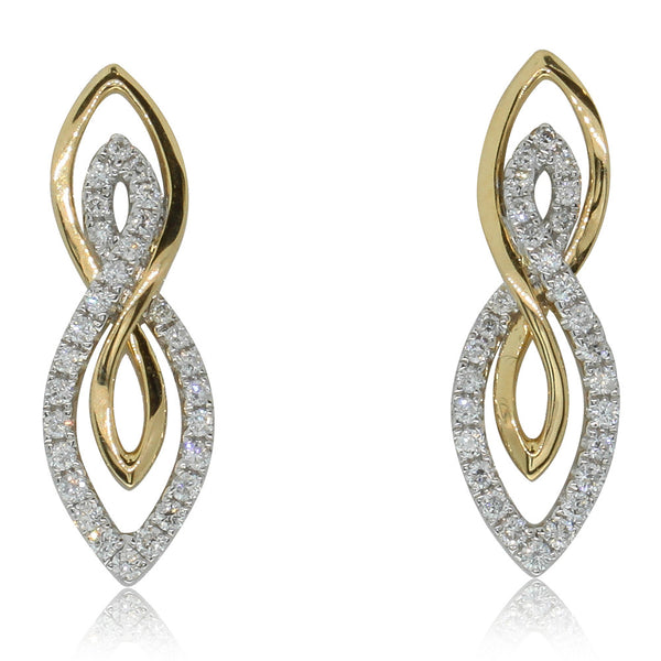 18ct Yellow & 18ct White Gold .35ct Diamond Earrings - Walker & Hall