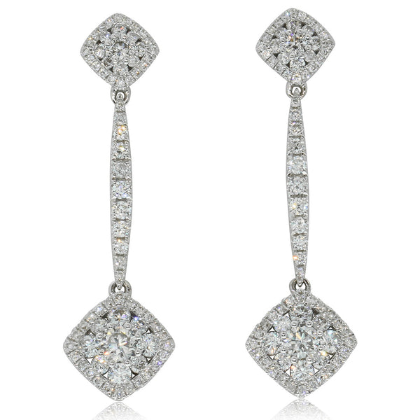 18ct White Gold 1.66ct Diamond Drop Earrings