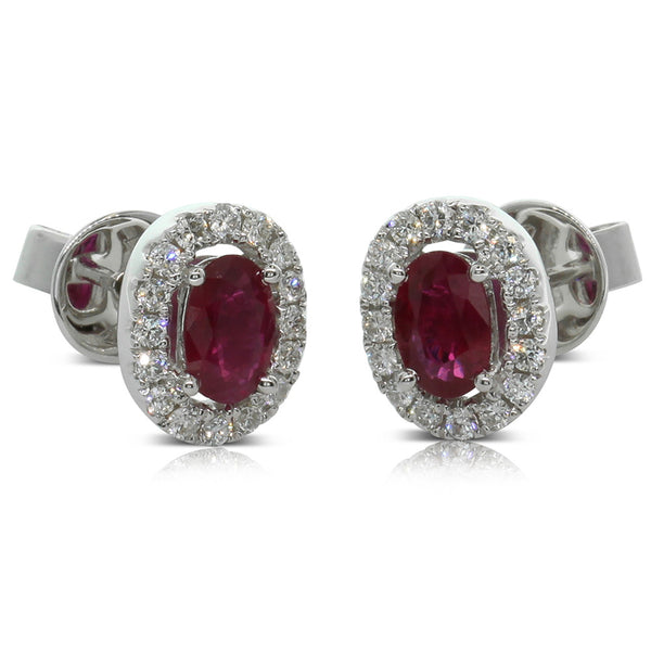 18ct White Gold .98ct Ruby & Diamond Halo Studs - Walker & Hall