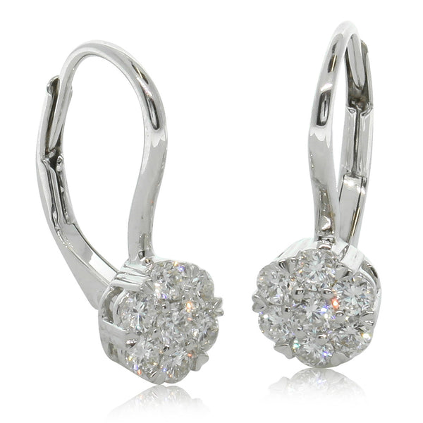 18ct White Gold .50ct Diamond Cluster Drop Earrings - Walker & Hall