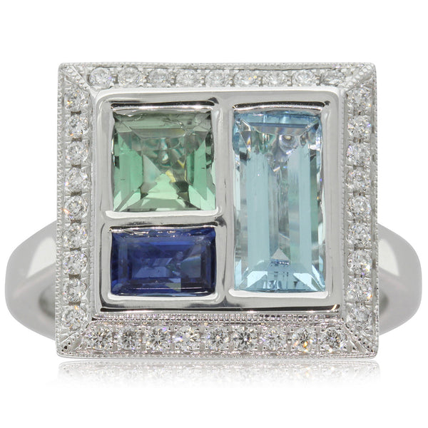 18ct White Gold Aquamarine, Sapphire & Tourmaline Ring - Walker & Hall