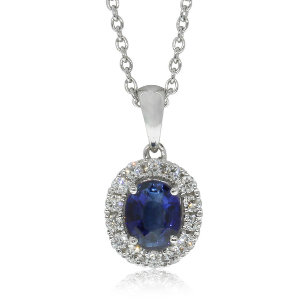 18ct White Gold Sapphire & Diamond Pendant - Walker & Hall