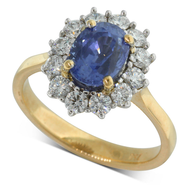 18ct Yellow & 18ct White Gold Sapphire & Diamond Ring - Walker & Hall