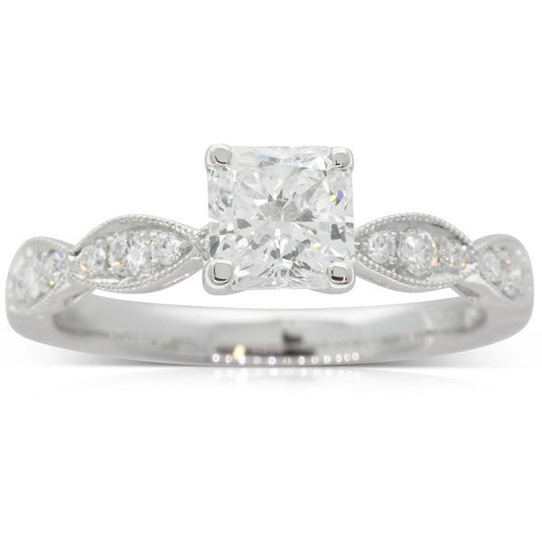 18ct White Gold 1.00ct Radiant Cut Diamond Ring - Walker & Hall