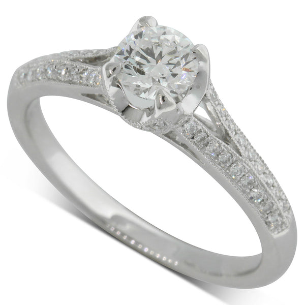 18ct White Gold .52ct Diamond Eiffel Ring - Walker & Hall